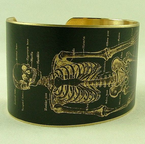 Anatomical Human Skeleton Brass Cuff Bracelet in Black - Doctor Jewelry      JezebelCharms