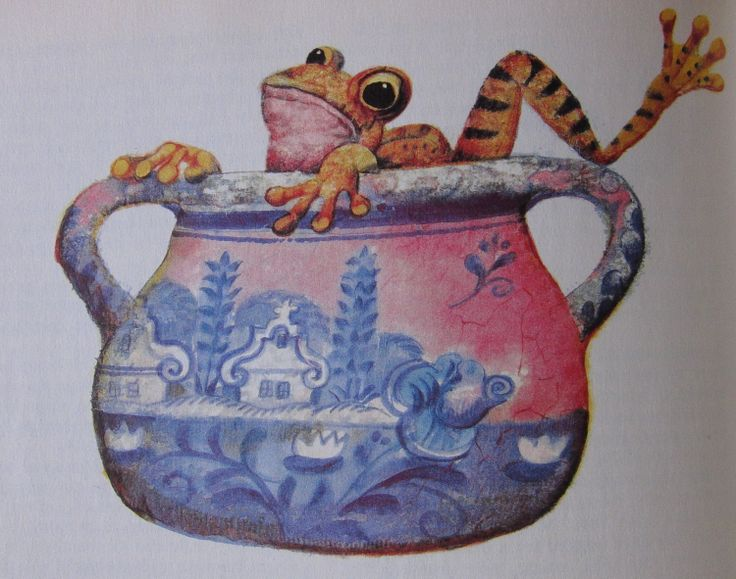 Frog in the cream jar. Karel Franta. Czech illustrator. Vintage illustration. Animal fairy stories.
