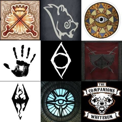Different factions in Skyrim & Oblivion - The Blades, Stormcloaks, The Mage's Guild, The Dark Brotherhood, The Thieve's Guild, The Fighter's Guild, Imperial Legion, College of Winterhold and the Companions.