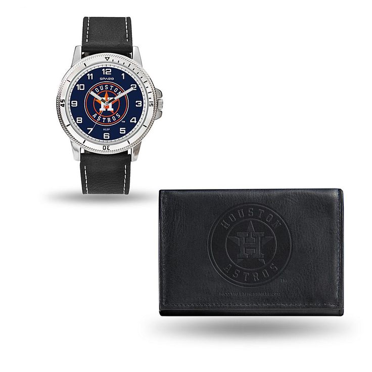 Rico MLB Team Logo Watch and Wallet Combo Gift Set in Black - Astros