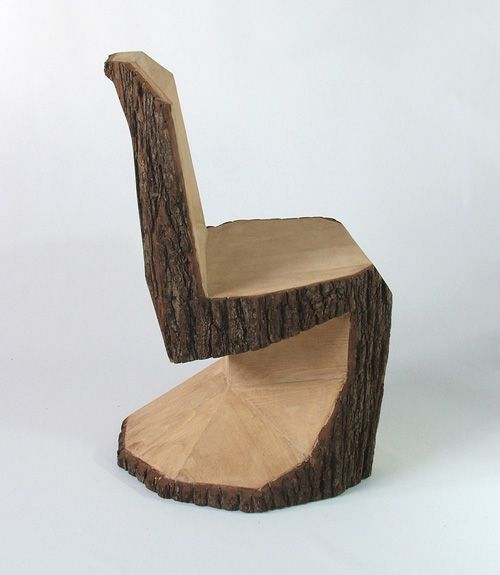Peter Jakubik's latest creation, Panton DIY, is inspired by legendary Danish furniture designer Verner Panton's iconic Panton S chair and carved from a single log with a chainsaw.