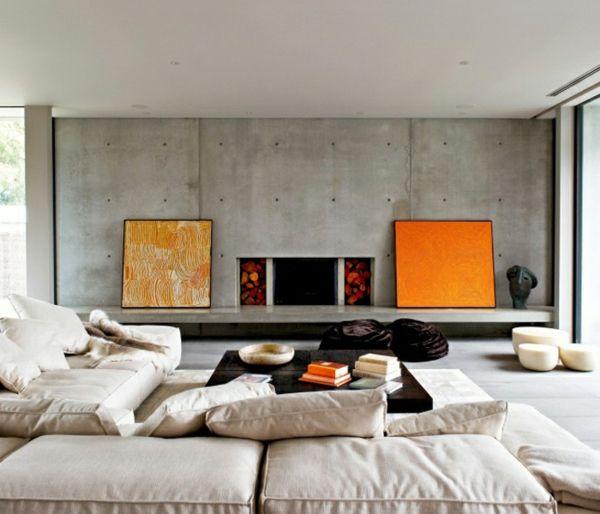 orange Akzente Sichtbeton Wand Polstermöbel