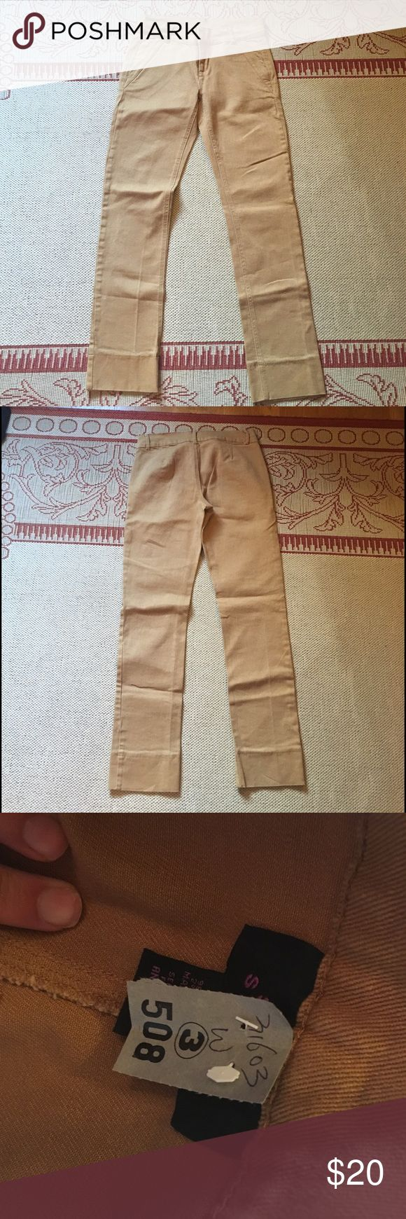"""Straight leg cognac tan jeans size 4 / 6 NWT Really cute tan straight leg jeans. Never worn, brand new. Inseam: 29.5"""", 6"""" leg opening, 14.5"""" waist. All measurements taken lying flat. Could also fit a size 6 Jeans Straight Leg"""
