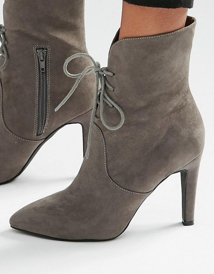 London Rebel Lace Up Point Heeled Ankle Boots