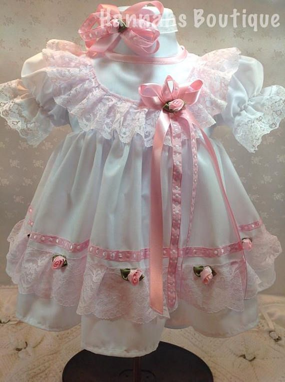 New Handmade White Pastels Eyelet with Double Lace Front Baby Bonnet