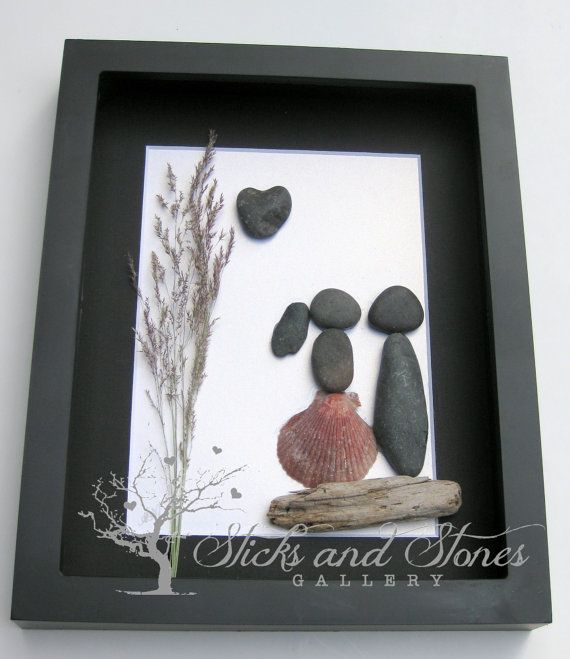 Pebble Art Couple's Gift Valentine's Day by SticksnStone on Etsy