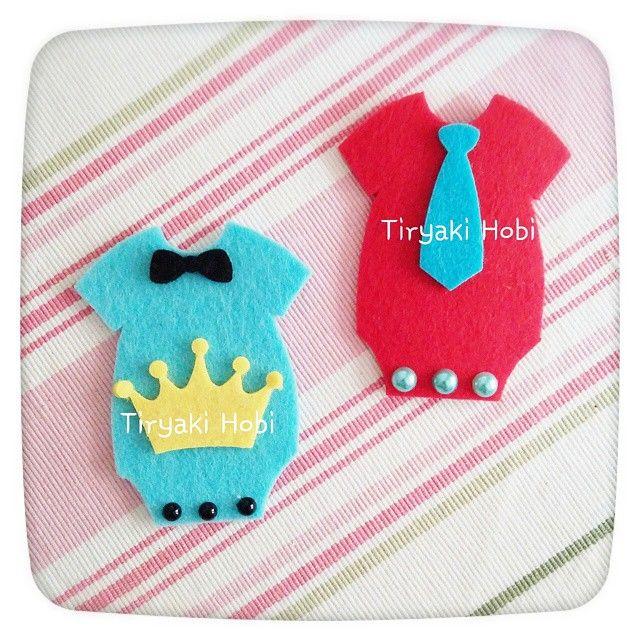 ♥ Tiryaki Hobi ♥: Keçe bebek şekeri / doğumgünü magneti- ZIBIN  -----  felt onesie