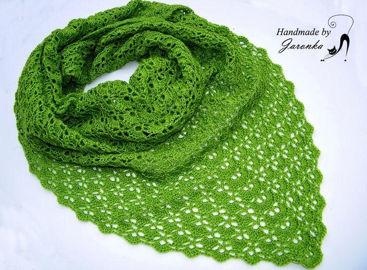 Hand made by Jaronka: Zielona chusta szydełkowa