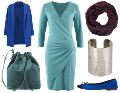 Emmy -Standing out in peacock colours. This turquoise jersey wrap dress is the perfect choice for inverted triangle body shape. Deep V-neck creates an optical illusion of a narrower upper torso whilst wrap-style creates a nice waistline. 3/4 sleeve is ideal for wearing a chunky statement cuff. I have added a long relaxed blazer in cobalt blue with matching ballerina pump. The teal bucket bag can be worn cross body and the purple infinity scarf completes the outfit. www.ionimage.nl