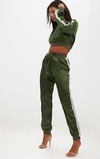 eaf6b17408 Emerald Green Satin Sporty Trim Joggers