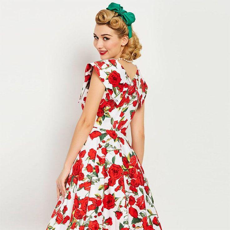Women vintage dress pin up summer red floral print  