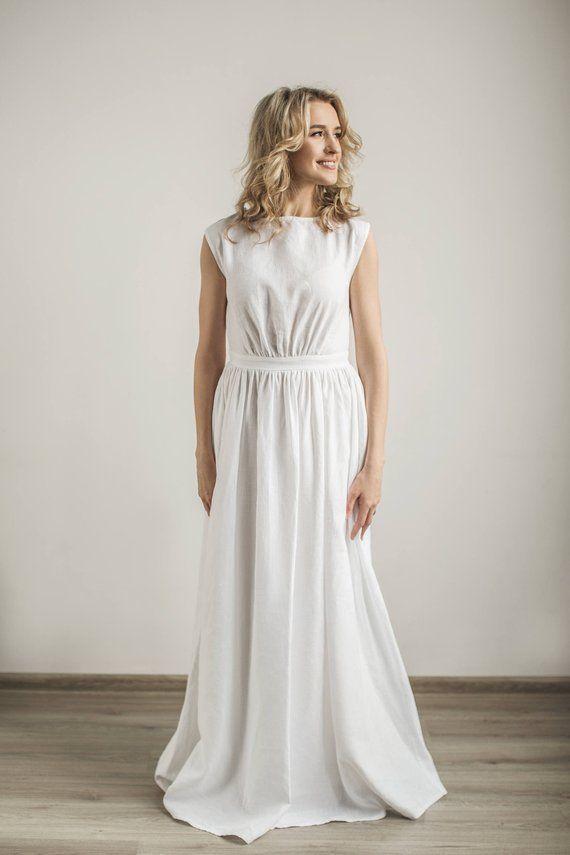 Linen Greek Wedding Dress Linen Wedding Dress Modest Wedding Dress Simple Wedding Dress Linen Wedding Dress Greek Style Wedding Dress Modest Wedding Dresses