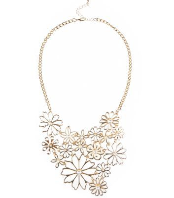 Gold Pearl Daisy Bib Necklace