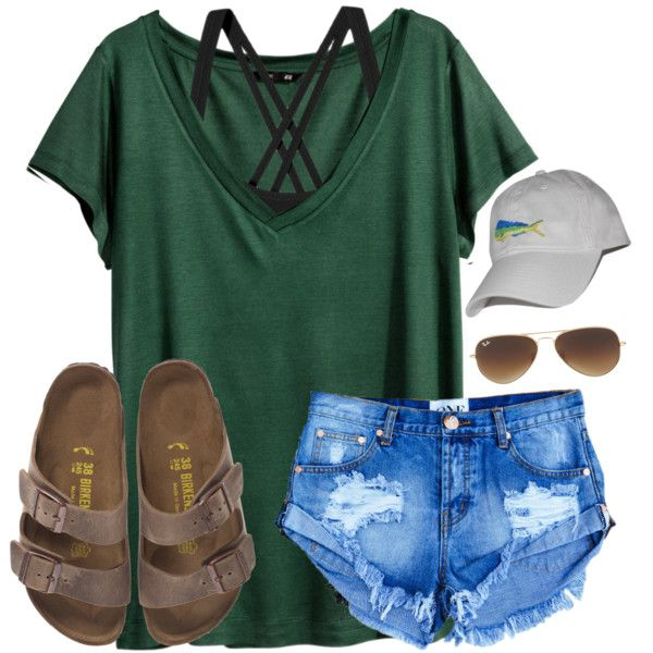 #summer #outfits / White Cap + Denim Shorts