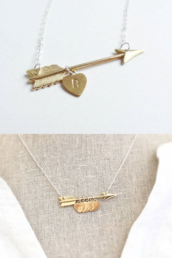 Gold Arrow Initial Necklace - Sterling silver and Brass - Arrow Jewelry - Personalized Gift - Handstamped - Minimal - Silver and Gold
