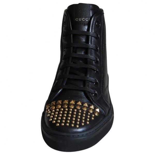Pre-owned Gucci Black Leather Trainers (555 CHF) ❤ liked on Polyvore featuring shoes, sneakers, black, women shoes trainers, black high top shoes, black sneakers, gucci high tops, black studded sneakers and leather high top sneakers