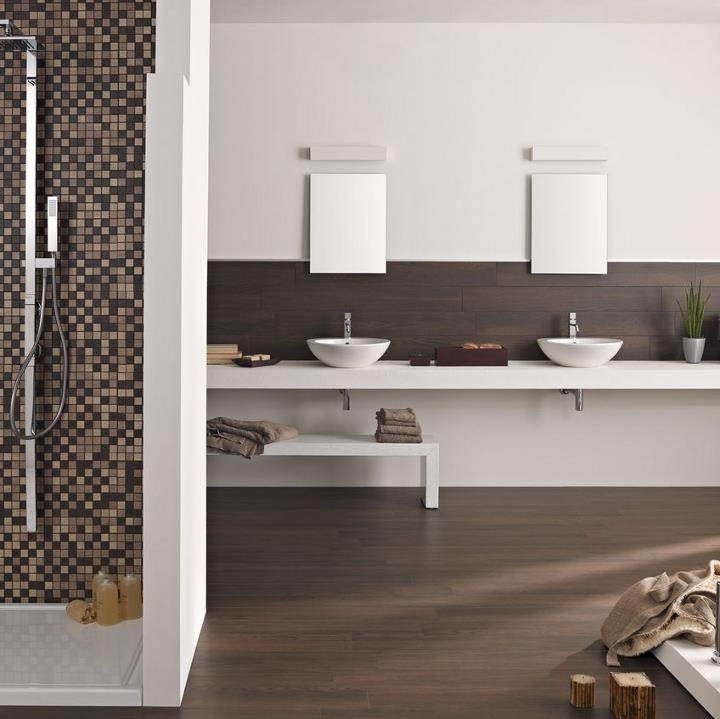 Porcelain tiles that perfectly replicate the colour and texture of natural timber. Can you tell the... pinned with Pinvolve