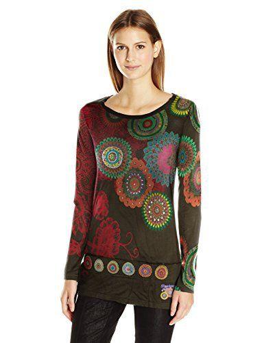 Desigual TS_Calima, T-Shirt à Manches Longues Femme, Vert (Verde Botella 4009), 42 (Taille Fabricant: XXL): Tweet