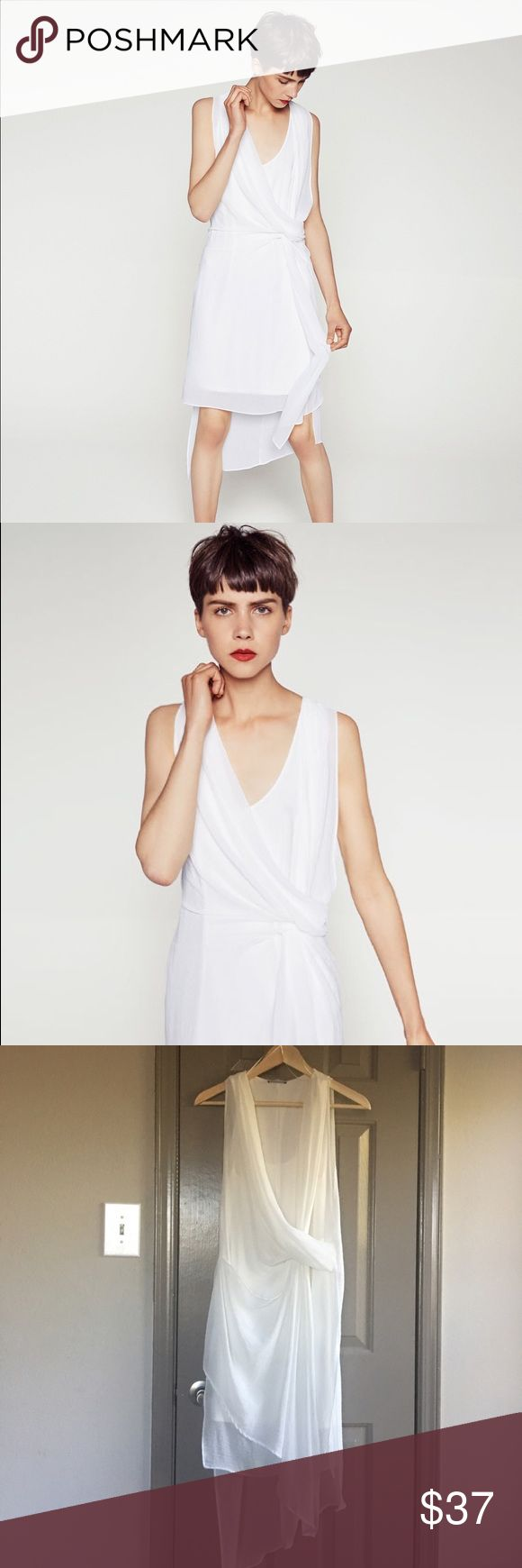 Zara beautiful white dress Amazing wrapping effect/ wore once to a dinner party no damage Zara Dresses Midi