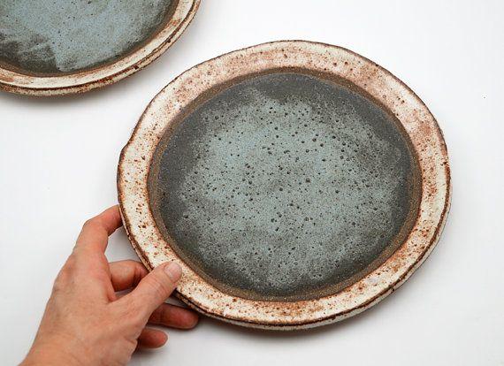 Ceramic Dinner Plate  Two Toned Dinner Plate  by susansimonini