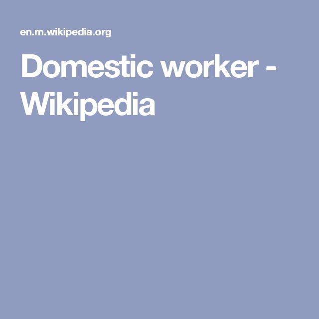 Domestic worker - Wikipedia