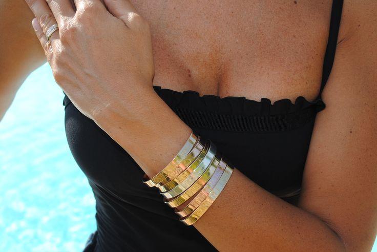joncs bracelet plaque argent, jaune et rose
