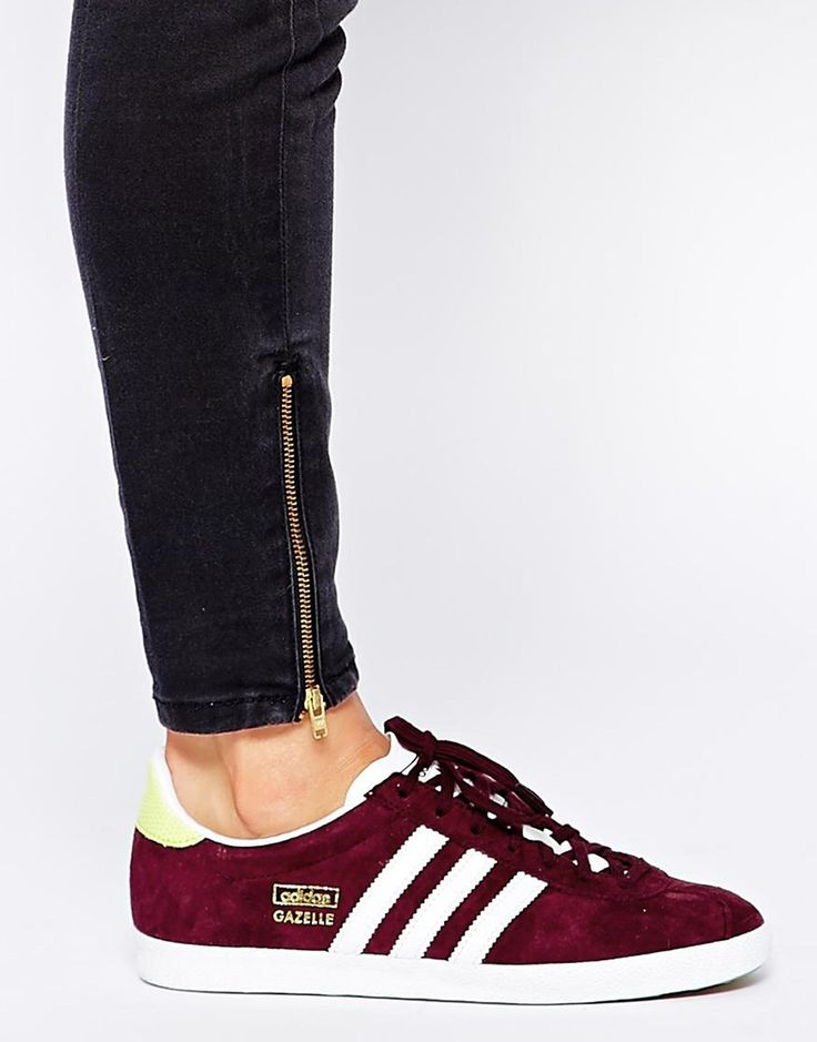 ladies gazelle burgundy trainers - Google Search