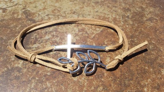 Brown Leather Silver Cross Leaf Bracelet Anklet by WesanyCrafts
