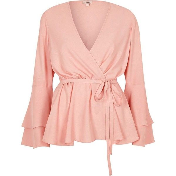 dadb97c20fc547 River Island Light pink frill sleeve wrap blouse ( 60) ❤ liked on Polyvore  featuring tops