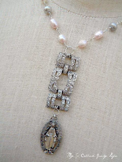 Let It Be - Vintage Repurposed Rhinestone And Religious Medal Necklace With Freshwater Pearls