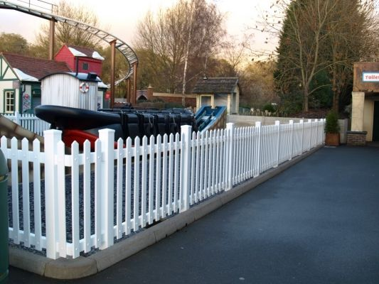 Fensys UPVC plastic range - picket - balustrade fencing for sports arenas - horse ménage - football and rugby grounds - race courses - home gardens - commercial - theme parks