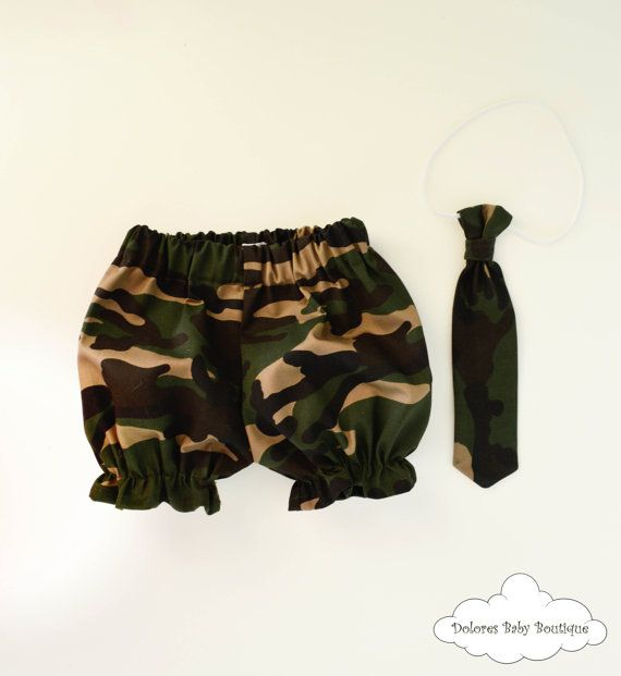 Army Bloomers Set Baby Boy Baby Boy Tie Bow by DoloresBabyBoutique