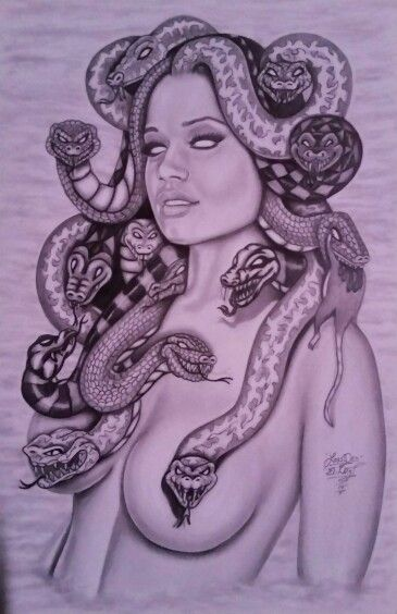 Graphite drawing of my version of Madusa.