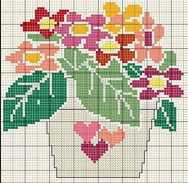 fleur- flower - plant - broderie - embroidery - bouquet fleurs - Point de croix - Blog : http://broderiemimie44.canalblog.com/