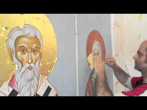 Byzantine iconography.The Gilding process. Icons of St. Michail of Kiev ...