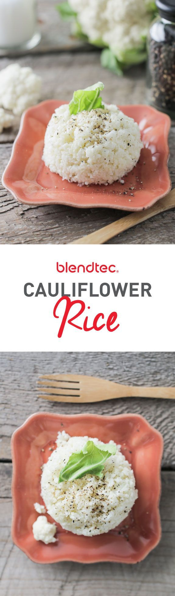 """Cauliflower """"rice"""" is a great low-carb, paleo-friendly substitution for rice in your favorite recipes. It's a great recipe for many nutrition plans and diets (like #Whole30) and is SO EASY to make with the help of your Blendtec!"""