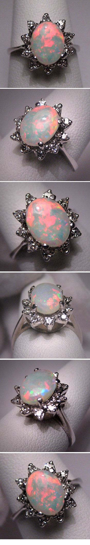 I want this beauty! Vintage Australian Opal Diamond Ring Estate Wedding W.G. $1495.00