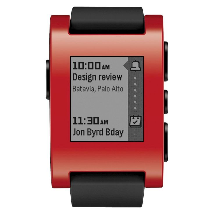 Pebble Smart Watch for iPhone and Android - Red