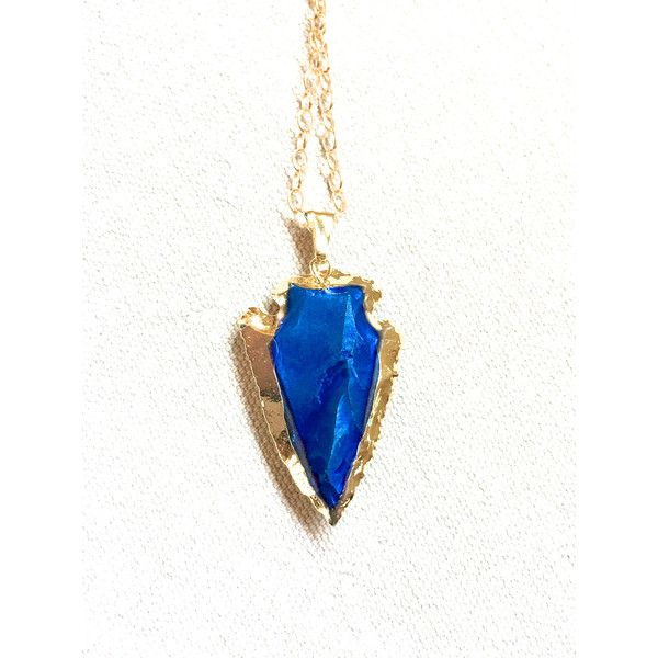 Blue Arrowhead Necklace, blue titanium stone necklace gold dipped... (500 ARS) ❤ liked on Polyvore featuring jewelry, necklaces, stone jewelry, native american jewelry, tribe necklace, american indian jewelry and titanium necklace
