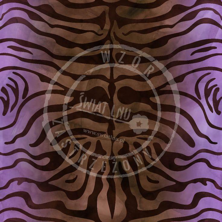 Druk na tkaninach naturalnych: len, bawełna, wiskoza. Autorska kolekcja wzorów jedyna i niepowtarzalna. Zatop się w głębi kolorów. Pracownia Druku - drukujemy również na Twoich tkaninach.  #pracowniadruku #tkaniny #wzory   Wzór Tygrys Kaspijski Painted tiger pattern purple brown