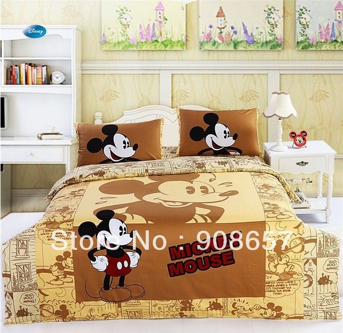 mickey mouse character children's boy's bedding twin full queen size comforter cotton quilt duvet covers bed in a bag sheets set