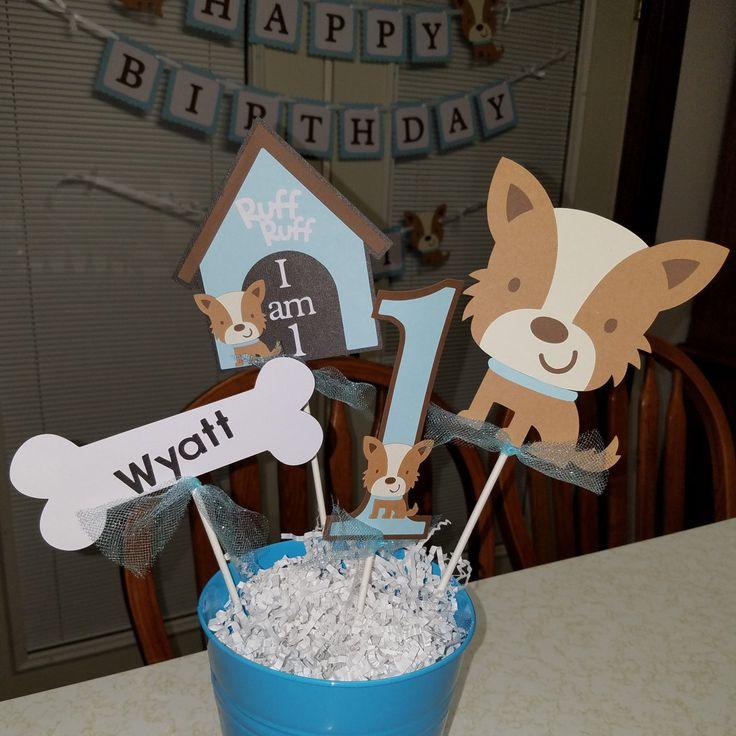 Puppy centerpiece, puppy birthday party, puppy birthday, puppy party package, puppy party decorations, dog centerpiece, dog party by MindysPaperPiecing on Etsy