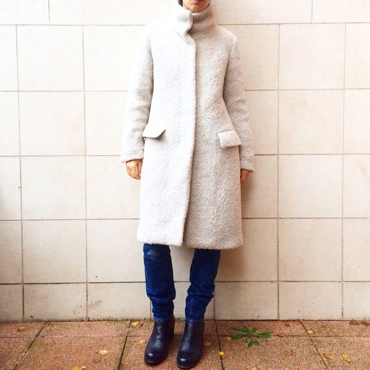 HELMUT LANG coat, white alpaca size 42