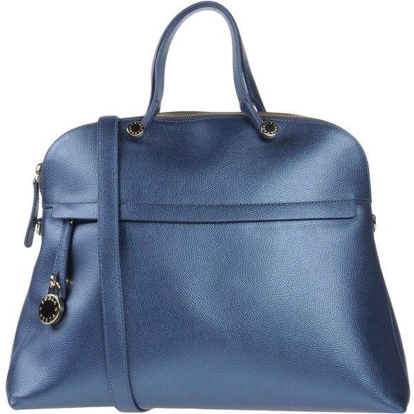 Furla Handbag ($335) ❤ liked on Polyvore featuring bags, handbags, slate blue, genuine leather purse, blue leather purse, furla purses, animal purse and leather shopper handbags