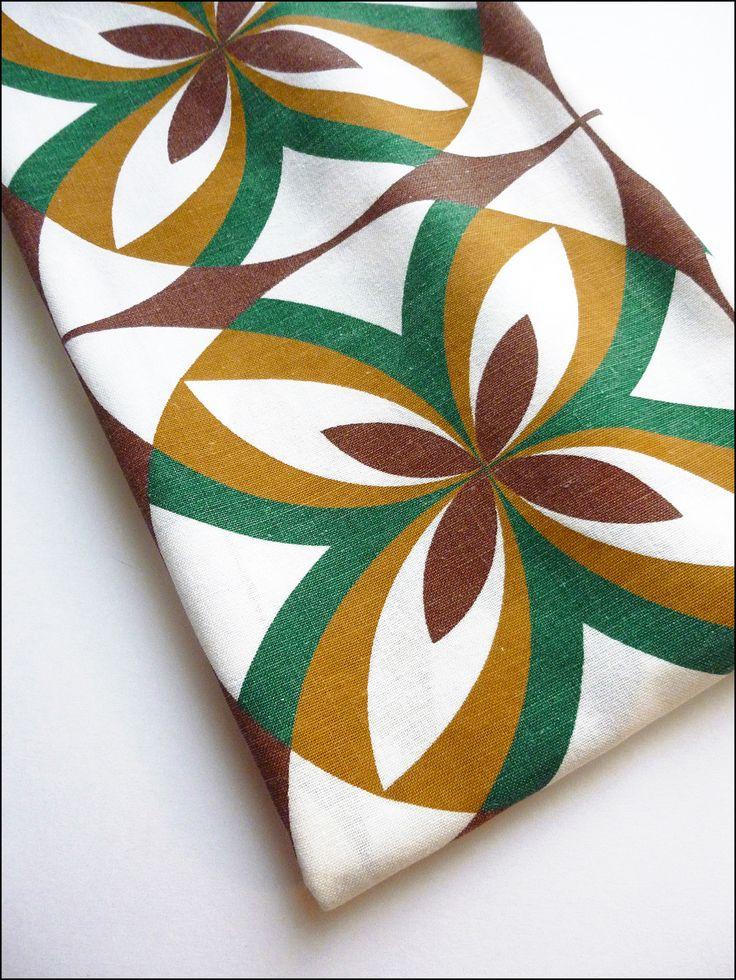 Coupon 80 x 135 cm tissu coton lin motifs tendance vintage : Tissus Habillement, Déco par atomictissus
