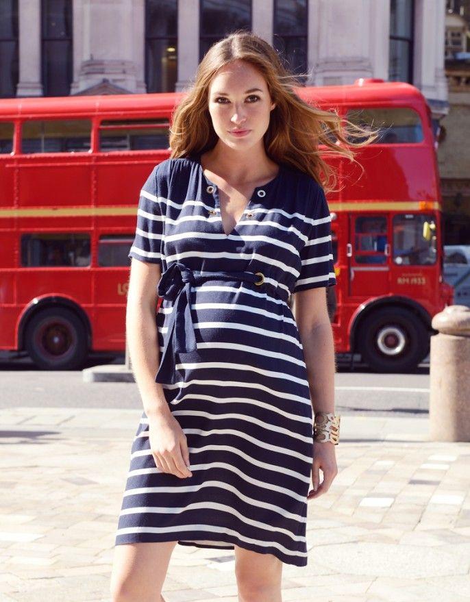 Woven Nautical Maternity Dress