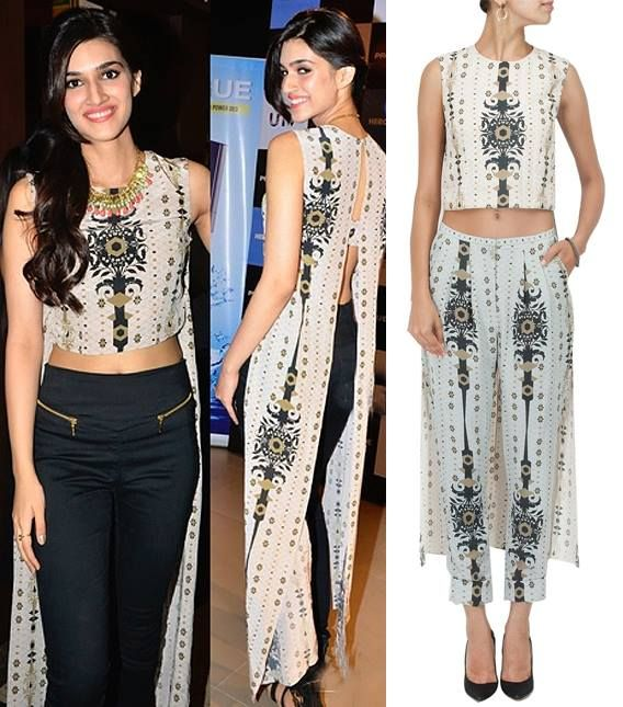 GET THIS LOOK: Kriti Sanon looks great in this stone sahara crop tunic by Payal Singhal Inc. Shop the designer now at: http://www.perniaspopupshop.com/