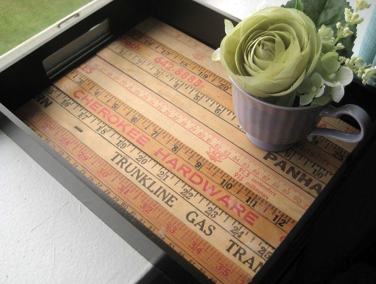 DIY yardstick tray: Post Little Nostalgia, Yard Sticks, Projects, Diy Trays, Yardstick Tray, Nostalgia Yardstick, Rulers Yardsticks Repurposed, Craft Ideas