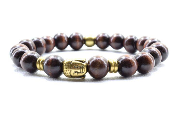 Buddha Bracelet Wood Bracelet Unisex Bracelet Mens Bracelet Bracelet for Him Beaded Bracelet Gift for Dad Boho Style Yoga Bracelet