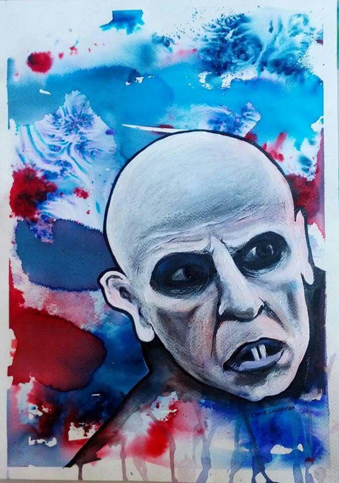 Nosferatu, Dracula. mixed media by Irish artist Claire Loughran